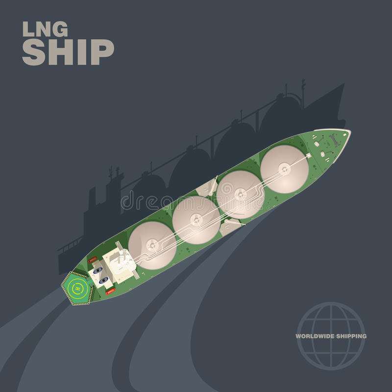 LNG tanker ship vector illustration