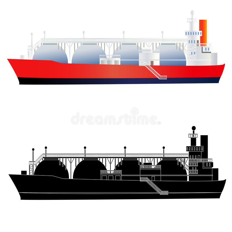 LNG Tanker, , Side View, Vector Stock Vector ...