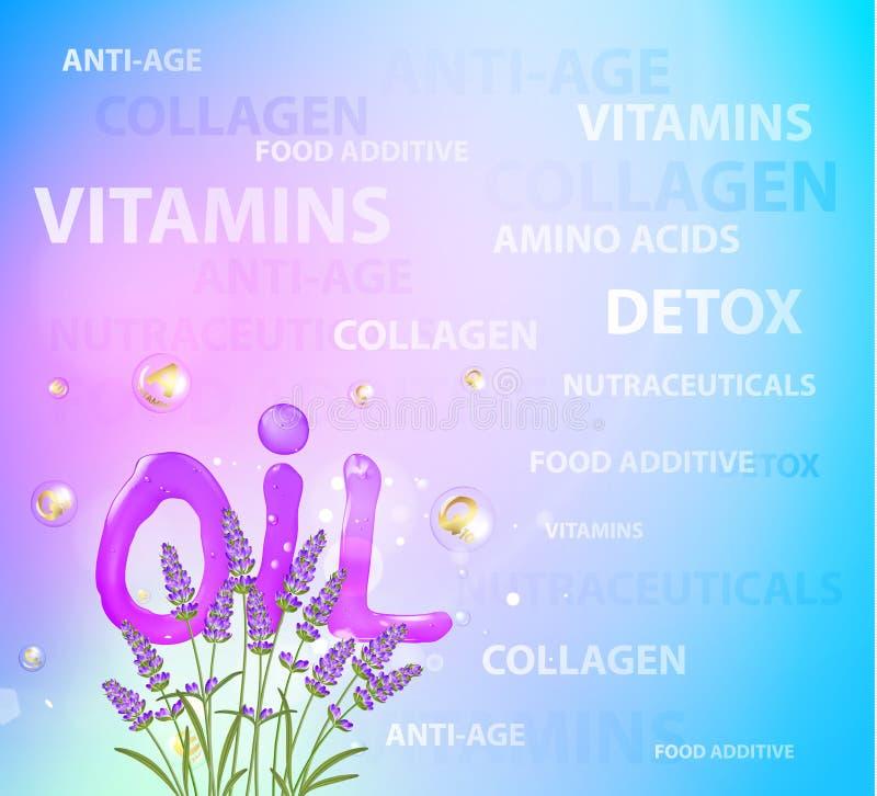 Loção cosmética do óleo com flores da alfazema Conceito creme de cara e do complexo regenerados da vitamina ilustração royalty free