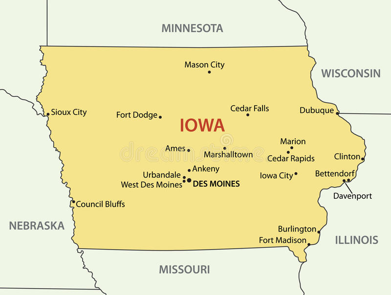 Lo Iowa - mappa di vettore dello stato illustrazione vettoriale