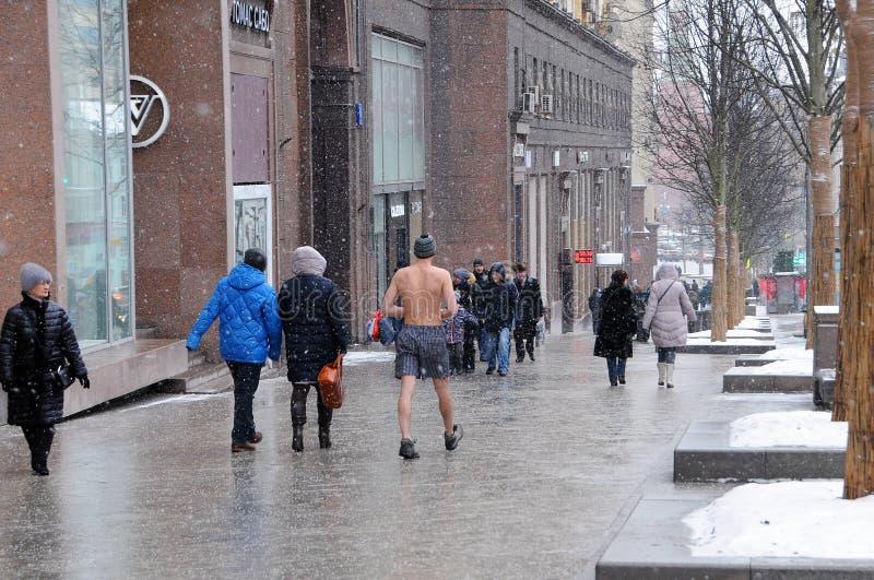 A lo largo de la calle de Tverskaya imagenes de archivo
