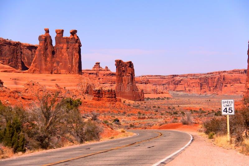 A lo largo del parque nacional de los arcos fotos de archivo libres de regalías