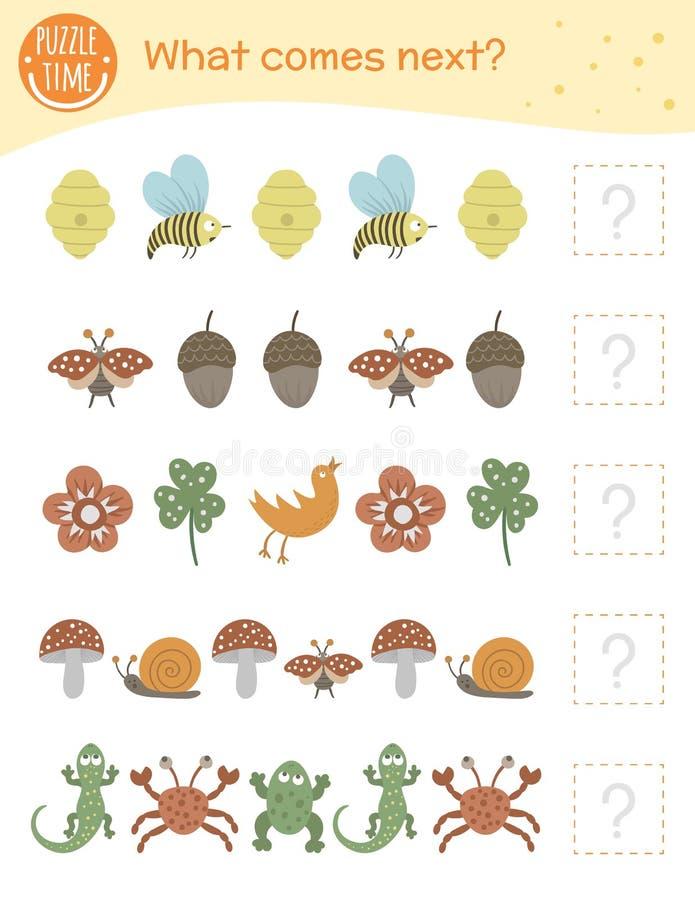 Lo que viene a continuación. Actividad paralela para niños en edad preescolar con animales e insectos libre illustration