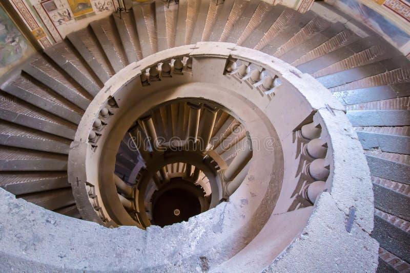 Lo SCALA REGIA, la scala principale della villa Farnese in Caprarola, Italia fotografie stock libere da diritti