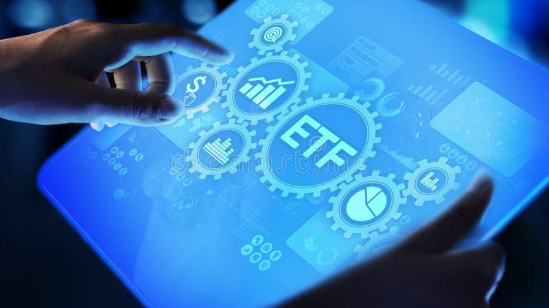 Lo scambio di ETF ha venduto il concetto commerciale di finanza dell'attivit? d'investimento del fondo sullo schermo virtuale fotografie stock