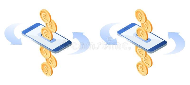 Lo scambio di euro per metal i dollari Concetto mobile di attività bancarie illustrazione di stock