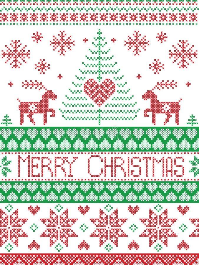 Lo scandinavo alto di Buon Natale ha stampato lo stile del tessuto ed ha ispirato dal Natale norvegese e dal modello senza cucitu illustrazione vettoriale