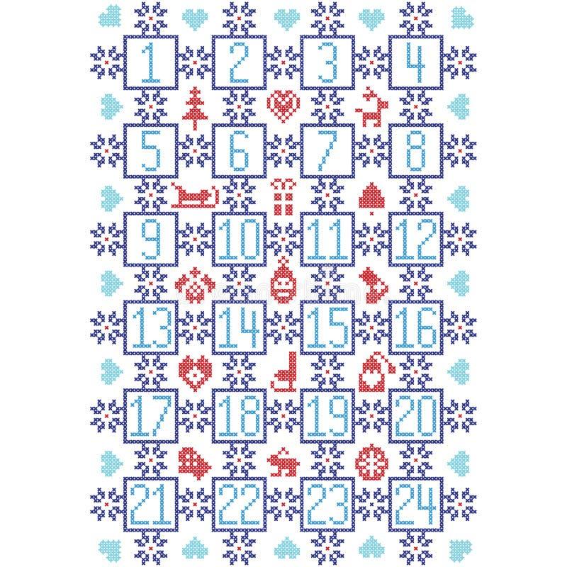 Lo scandinavo blu-chiaro e rosso di buio, ha ispirato dal calendario nordico con gli elementi decorativi quali i fiocchi di neve, illustrazione di stock