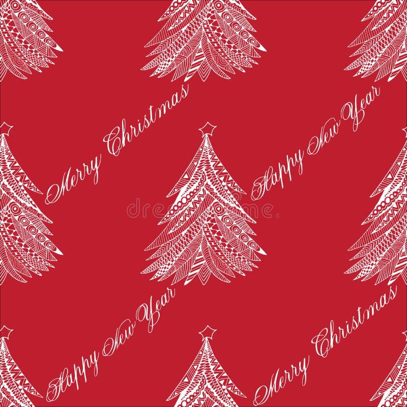 Lo scarabocchio del modello dell'albero di Natale ha stilizzato, disegnato a mano, bianco su rosso illustrazione vettoriale