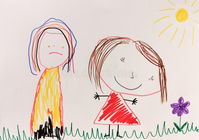Lo scarabocchio di disegno del bambino immagini stock libere da diritti