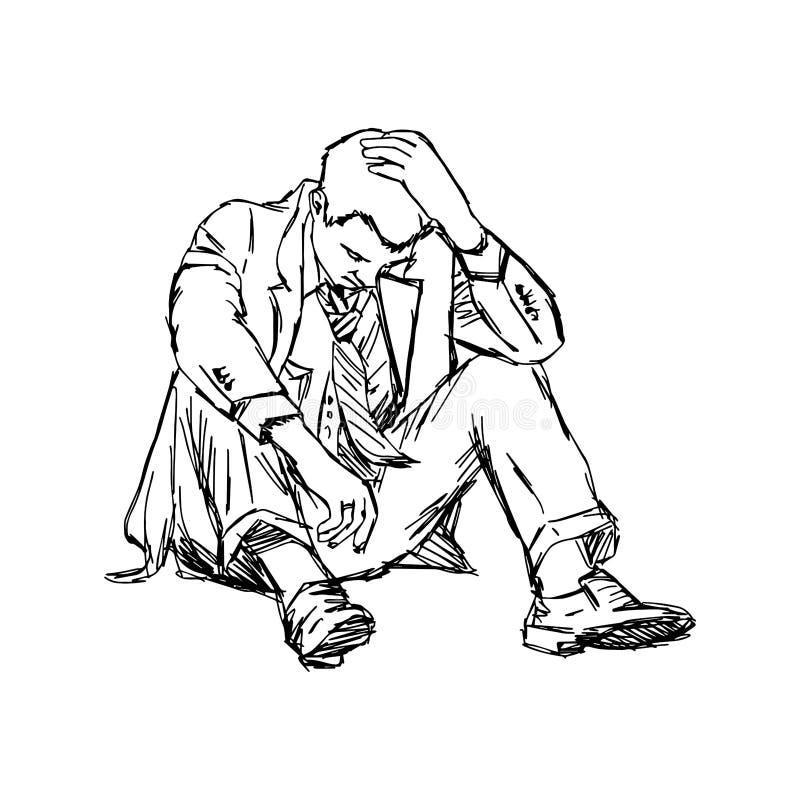 Lo scarabocchio di vettore dell'illustrazione disegnato a mano dello schizzo ha frustrato il busin royalty illustrazione gratis
