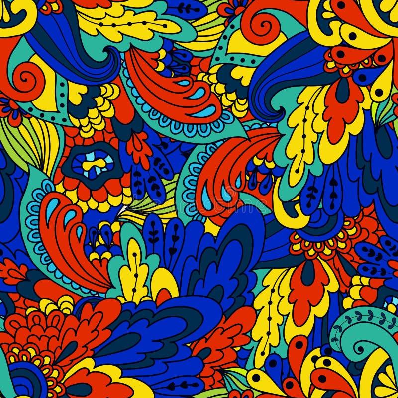 Lo scarabocchio disegnato a mano ondeggia il modello floreale, foglie verdi astratte royalty illustrazione gratis