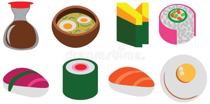 Lo scarabocchio stabilito del caffè del pacchetto dei sushi piani di colore del fumetto rotola l'icona sveglia illustrazione di stock
