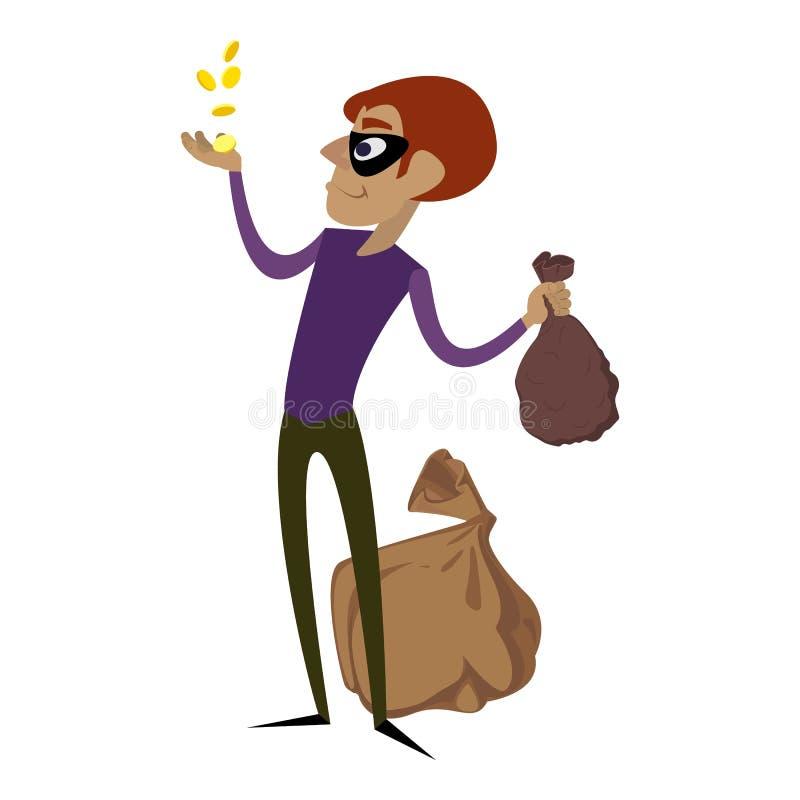 Lo scassinatore prende le monete di oro icona, stile del fumetto illustrazione di stock