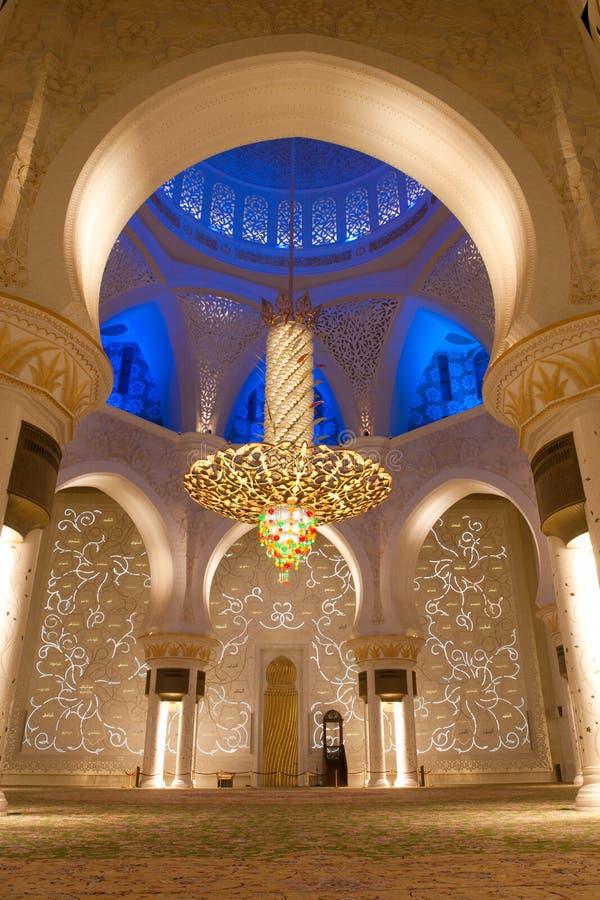 Lo sceicco zayed la moschea nell'Abu Dhabi, UAE - interiore fotografia stock libera da diritti