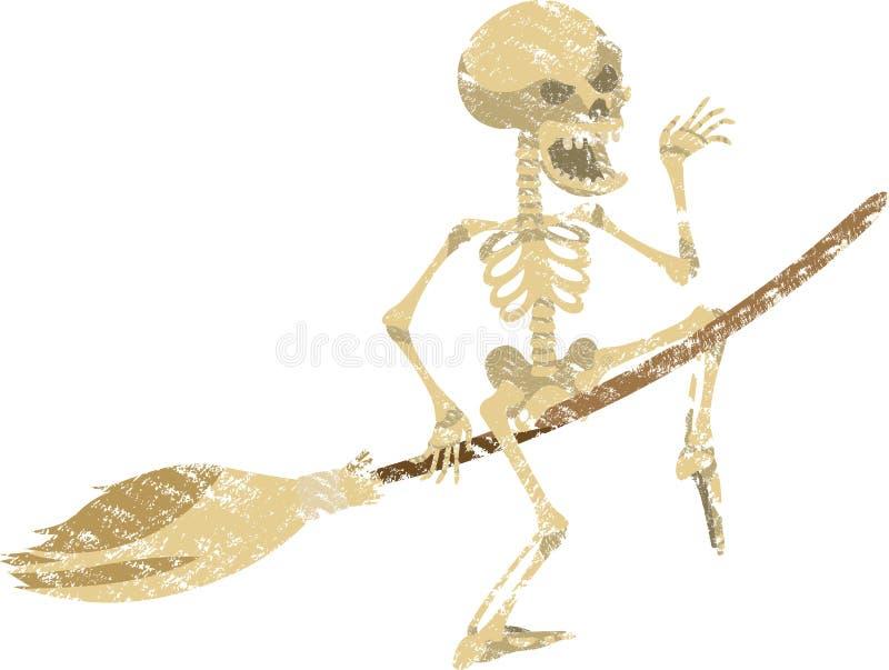Lo scheletro allegro vola su un manico di scopa nel heloin ed in onde una mano fotografia stock libera da diritti
