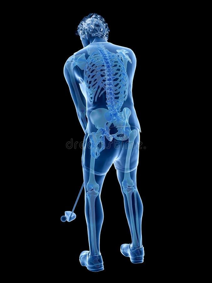 Lo scheletro di un giocatore di golf illustrazione di stock