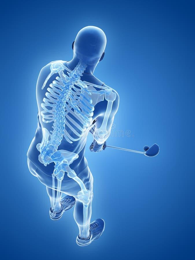 Lo scheletro di un giocatore di golf royalty illustrazione gratis