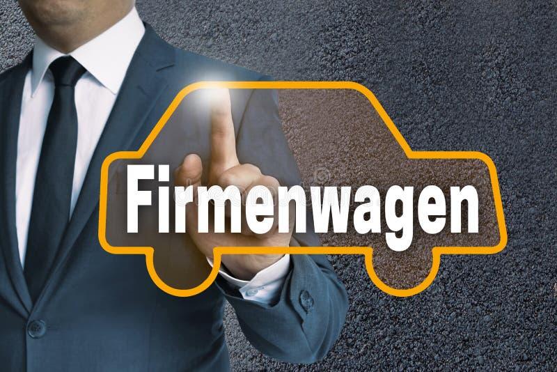 Lo schermo attivabile al tatto automatico di Firmenwagen (in automobile di società tedesca) è azionato immagine stock libera da diritti