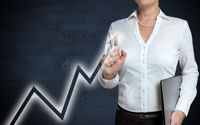 Lo schermo attivabile al tatto del grafico è indicato dalla donna di affari fotografie stock