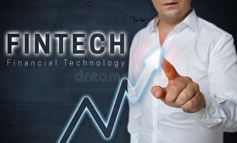 Lo schermo attivabile al tatto di Fintech è azionato dal concetto dell'uomo fotografia stock libera da diritti