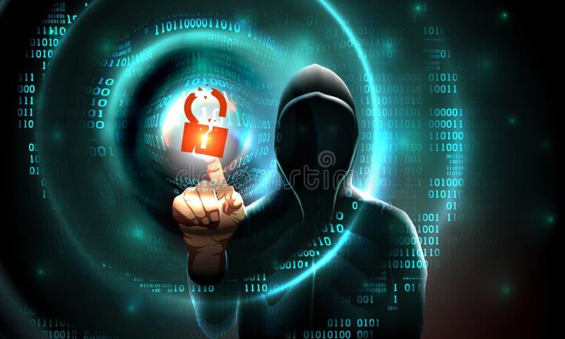 Lo schermo attivabile al tatto di tocchi del cappuccio del pirata informatico di computer ha inciso il simbolo della serratura ed royalty illustrazione gratis