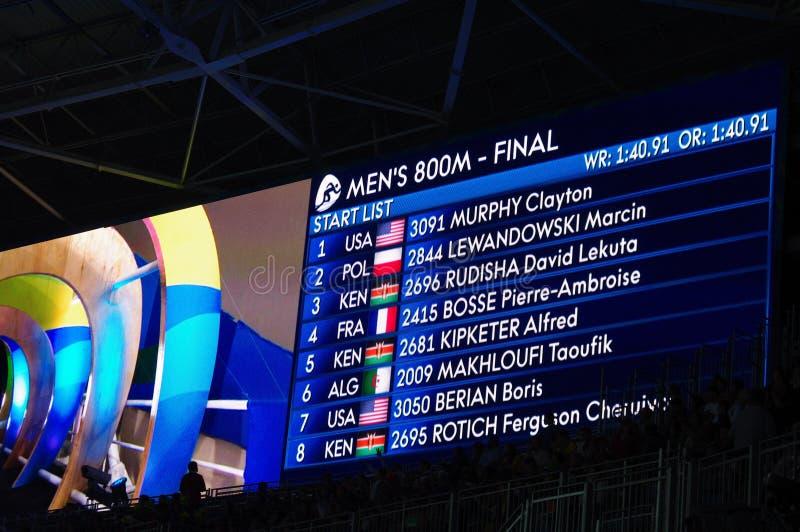 Lo schermo con la lista di inizio dei 800m degli uomini esegue il finale ai Olympics Rio2016 fotografie stock