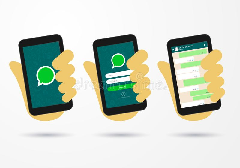 Lo schermo di connessione sociale dell'icona del messaggero dello Smart Phone della tenuta della mano dell'illustrazione di vetto illustrazione vettoriale