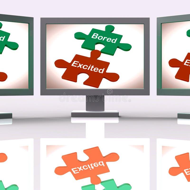 Lo schermo emozionante annoiato di puzzle significa eccitare e divertimento o l'alesaggio royalty illustrazione gratis