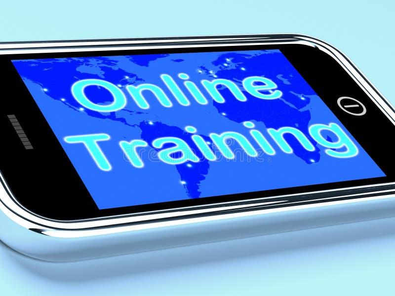 Lo schermo mobile di addestramento online mostra l'apprendimento di web royalty illustrazione gratis