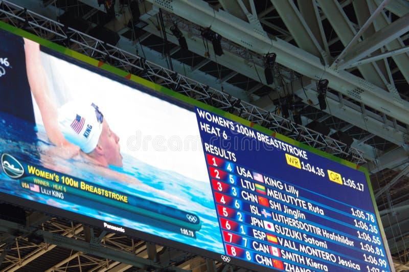 Lo schermo a nuoto Rio2016 riscalda la mostra della Lilly King fotografia stock