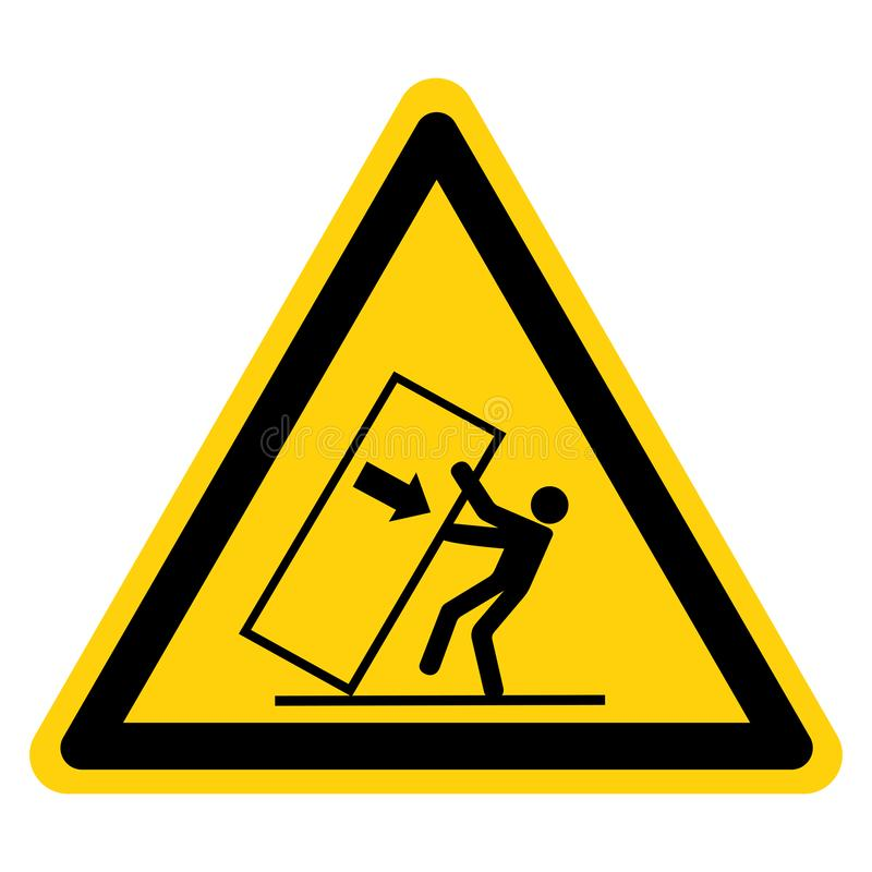 Lo schiacciamento del corpo ribalta il segno di simbolo di rischio, l'illustrazione di vettore, isolato sull'etichetta bianca del illustrazione di stock