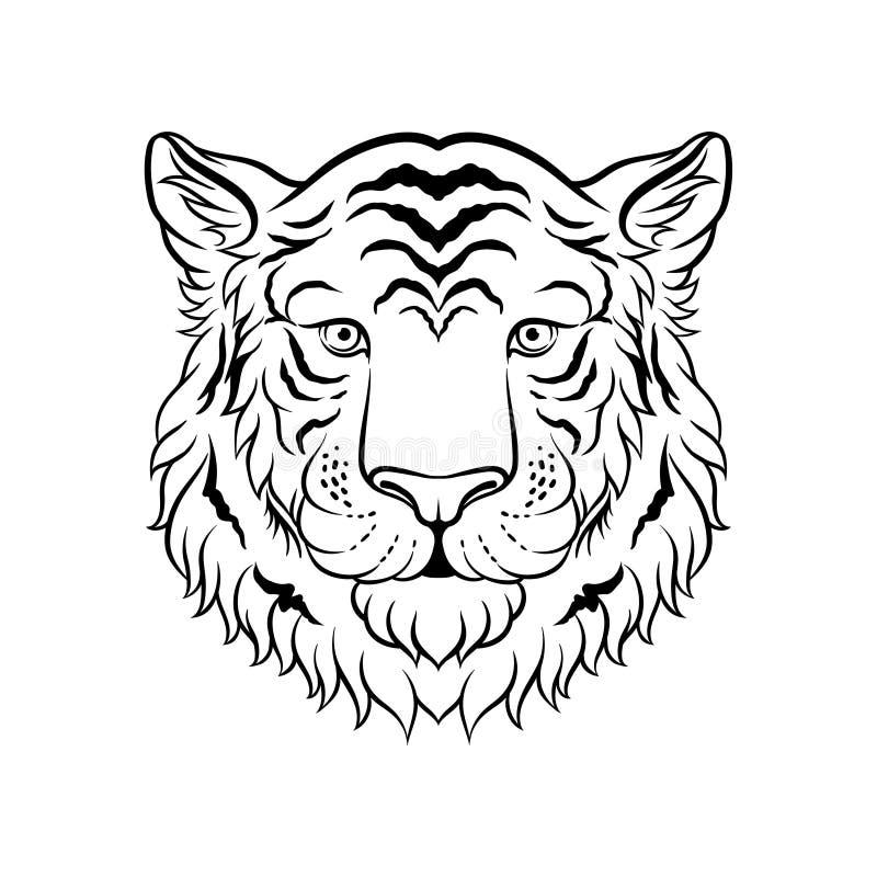 Lo schizzo in bianco e nero delle tigri si dirige, fronte dell'illustrazione disegnata a mano di vettore dell'animale selvatico illustrazione vettoriale
