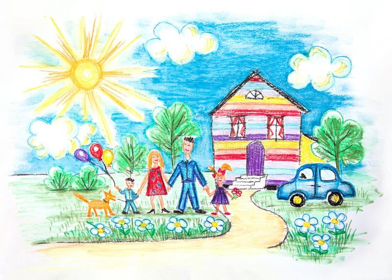 Lo schizzo dei bambini dell'acquerello con la famiglia felice illustrazione vettoriale