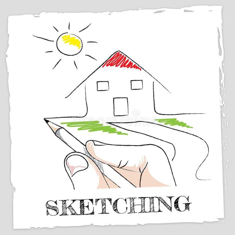 Lo schizzo della Camera mostra Real Estate e la costruzione illustrazione vettoriale