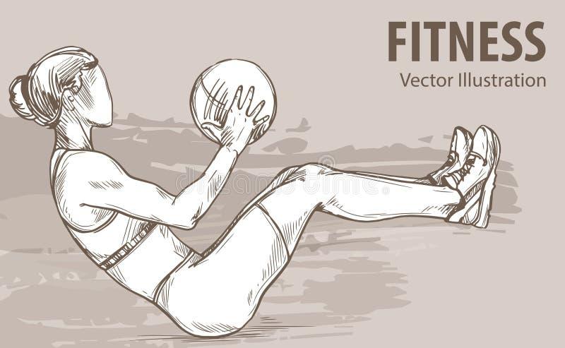 Lo schizzo della mano di una ragazza sta preparandosi con una palla Illustrazione di sport di vettore Siluetta grafica dell'atlet illustrazione vettoriale