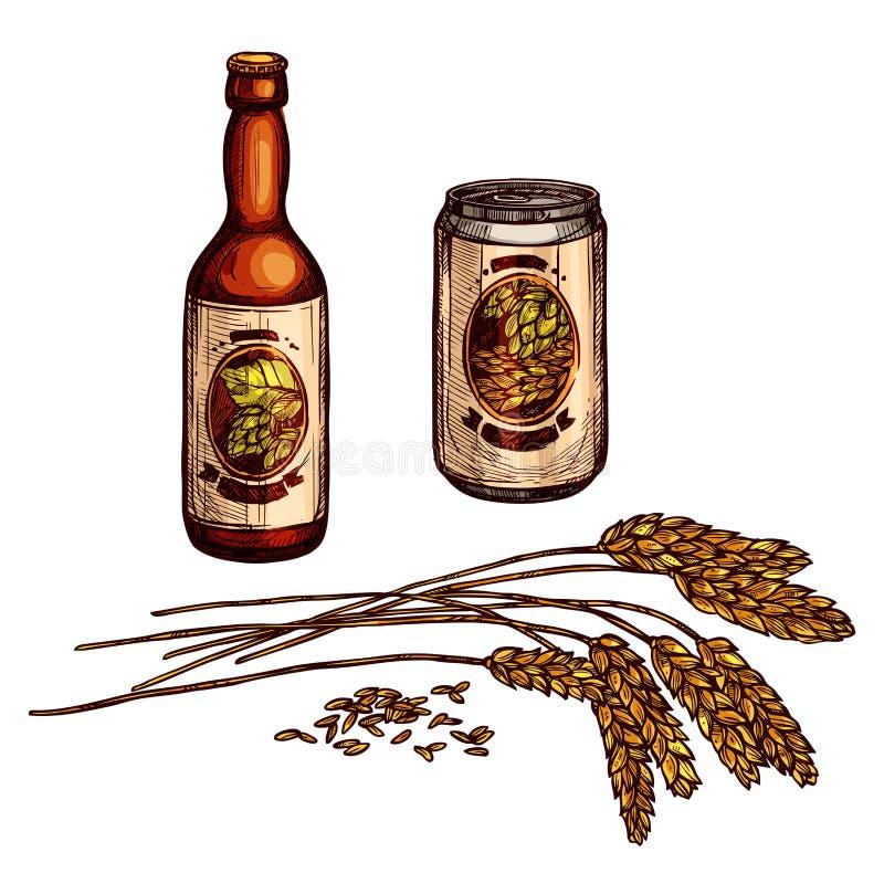Lo schizzo delle bevande della birra, della lager e della birra inglese con la bottiglia, può illustrazione vettoriale