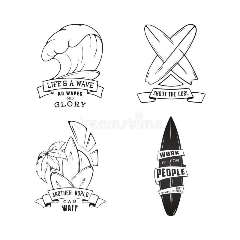 Lo schizzo moderno ha isolato l'insieme dell'emblema praticante il surfing di logo dell'illustrazione con iscrizione Elemento di  illustrazione vettoriale