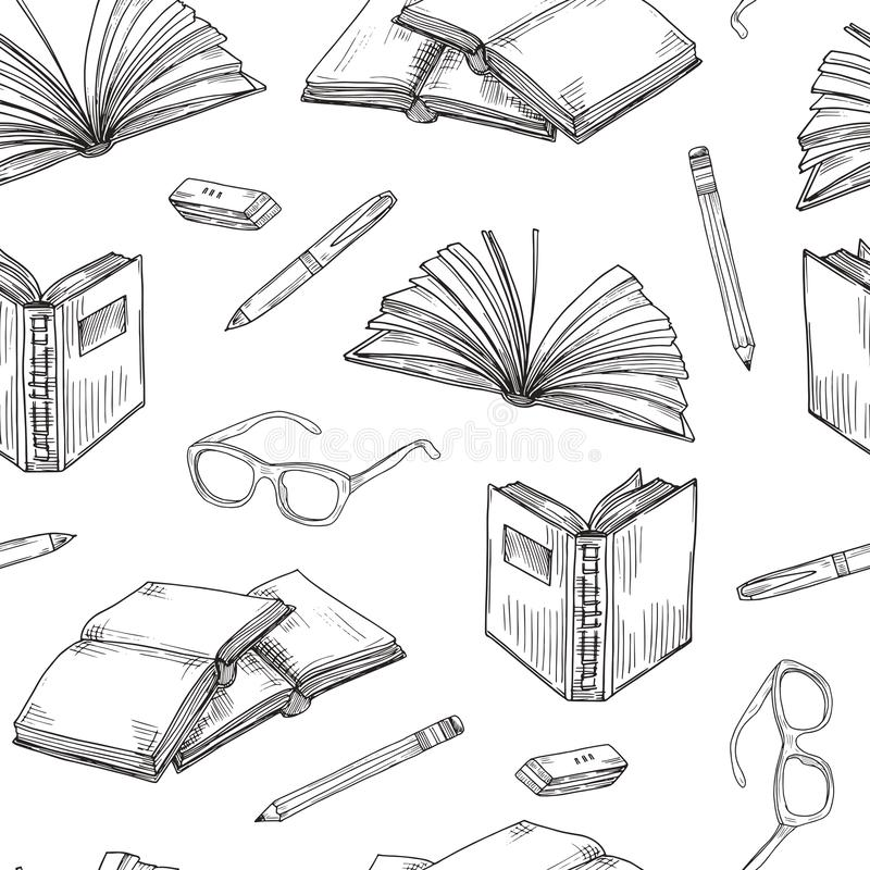 Lo schizzo prenota il modello senza cuciture I libri elettronici che leggono e che scrivono, istruzione scolastico e biblioteca s illustrazione vettoriale