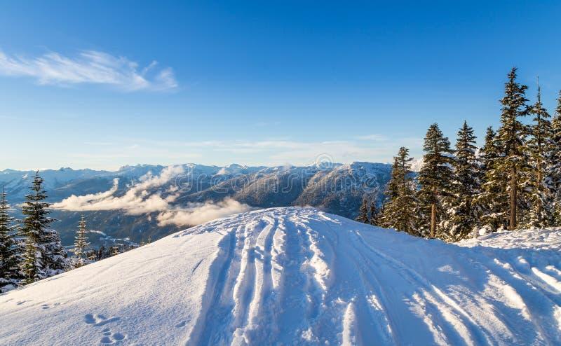Lo sci segue diminuire una cresta, guardante fuori sulle montagne vicino al Whistler, BC fotografia stock