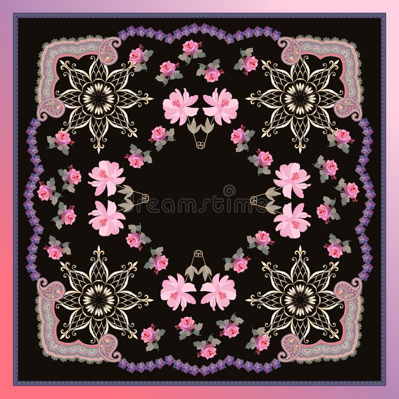 Lo scialle quadrato con i fiori rosa dell'universo e della rosa, gplden la mandala e la struttura ornamentale su fondo nero nel v illustrazione di stock