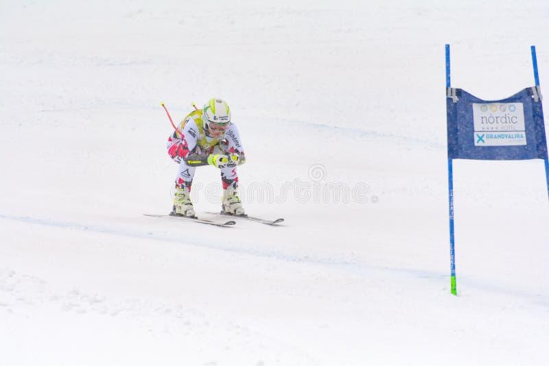 Lo sciatore dentro fa concorrenza durante l'eccellente di Audi FIS lo Ski World Cup Women alpino combinato il 28 febbraio 2016 in fotografie stock