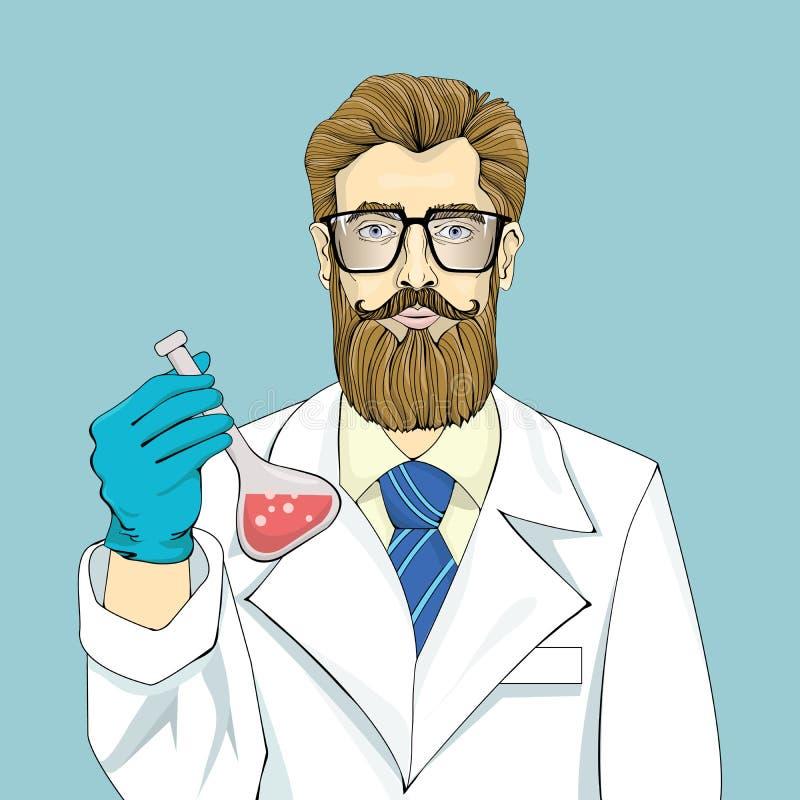 Lo scienziato barbuto in abito bianco tiene la fiala con liquido rosso su un fondo blu Grandi vetri, cravatta blu e capelli marro royalty illustrazione gratis