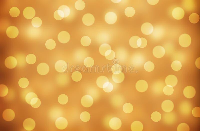 Lo scintillio Bokeh d'annata dell'oro accende il fondo defocused Fondo del nuovo anno e di Natale illustrazione di stock