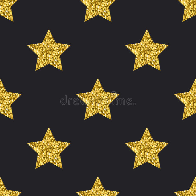 Lo scintillio dell'oro di vettore stars il fondo senza cuciture del nero del modello royalty illustrazione gratis