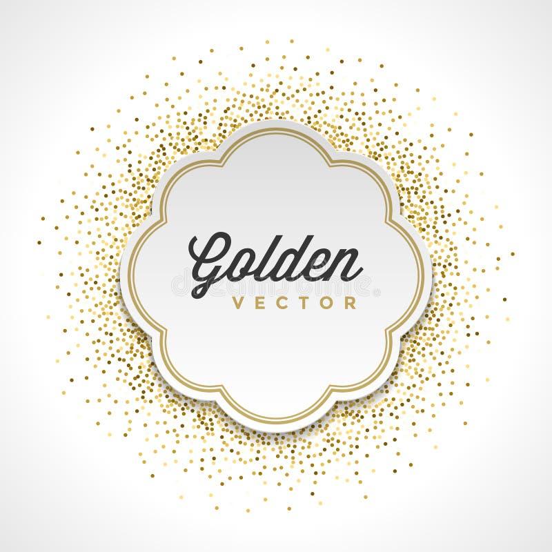 Lo scintillio dell'oro scintilla fondo luminoso di vettore del porta-etichette del Libro Bianco dei coriandoli illustrazione vettoriale