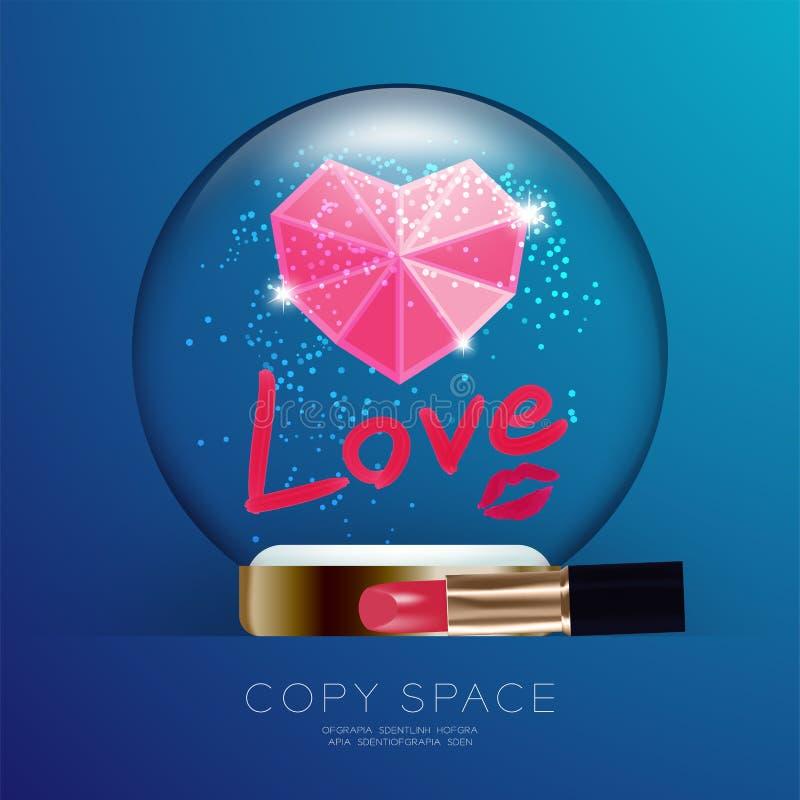 Lo scintillio di Valentine Snowball Glass del ricordo con il simbolo rosa del cuore, testo di amore scrive tramite rossetto e l'i illustrazione di stock