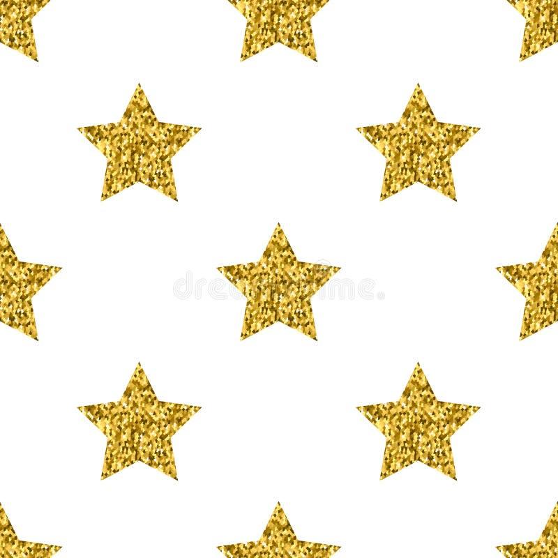 Lo scintillio dorato di vettore stars il modello senza cuciture bianco illustrazione vettoriale