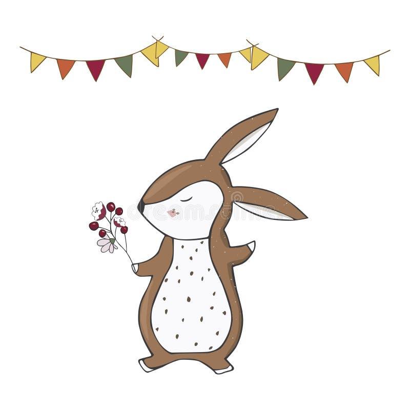 Lo scoiattolo aderisce al Ce geometrico della carta del cane del gatto del testo del fronte della foresta del panino di vettore d illustrazione di stock