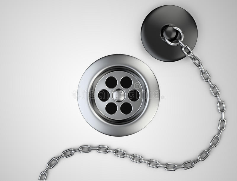 Lo scolo e la gomma di lavandino dell'acciaio inossidabile tappano con la catena royalty illustrazione gratis